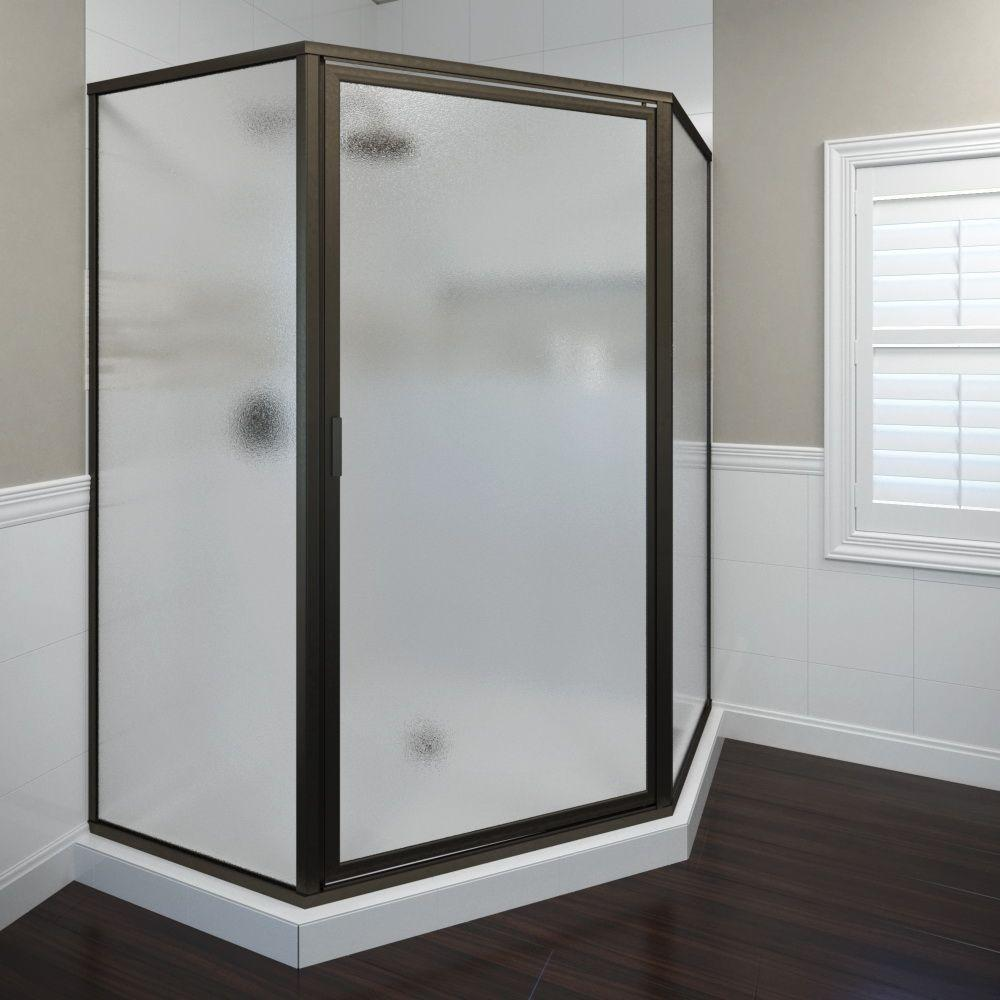 Basco Deluxe 26-1/2 in. x 68-5/8 in. Framed Neo-Angle Hinged Shower Door in Oil Rubbed Bronze