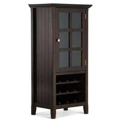 Acadian 24 in. 12-Bottle Brunette Brown Solid Wood Wide Rustic High Storage Wine Rack Cabinet