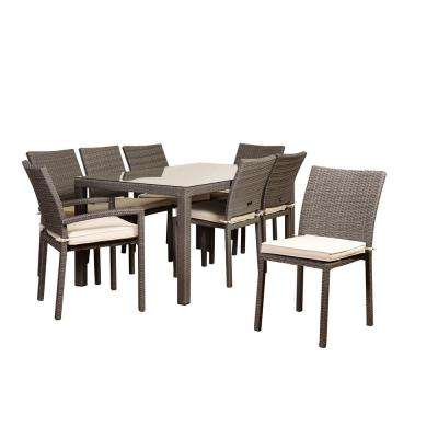 Atlantic Liberty 9-Piece Wicker Rectangle Outdoor Dining Set with Beige Cushions
