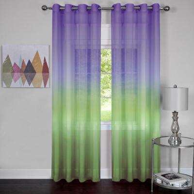 Rainbow Purple Polyester Sheer Grommet Curtain Panel - 52 in. W x 63 in. L