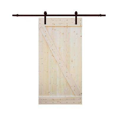 42 in.x84 in. Z Bar DIY 1-Panel Unfinished Natural Wood Sliding Barn Door w/ 8 ft. Dark Coffee Sliding Door Hardware Kit