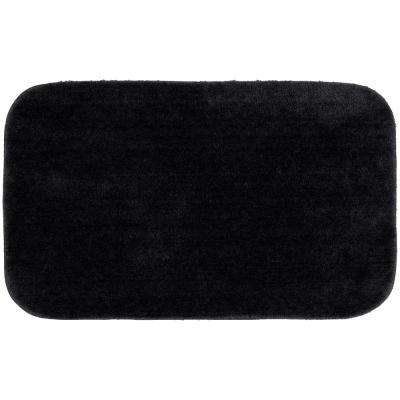 Traditional Black 24 in. x 40 in. Plush Nylon Bath Mat