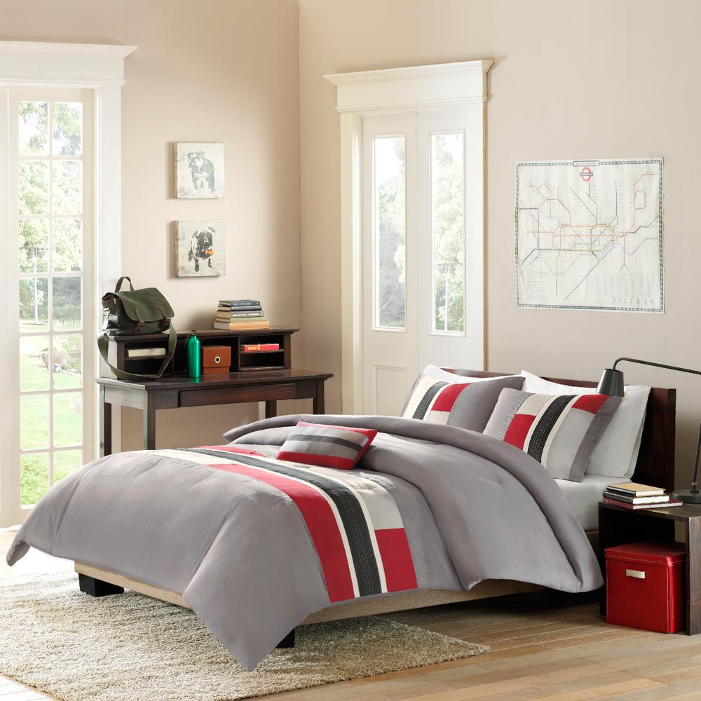 Mi zone switch 4 piece red grey black full queen print comforter