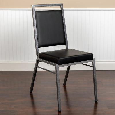 Black Vinyl/Silver Vein Frame Banquet Stack Chair (Set of 2)