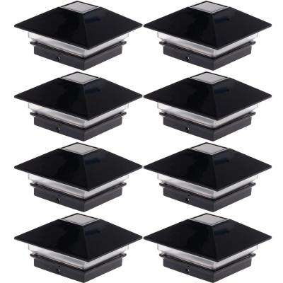4 in. x 4 in. Solar Powered Integrated LED Black Slim Post Cap Light for Wood Posts (8-Pack)