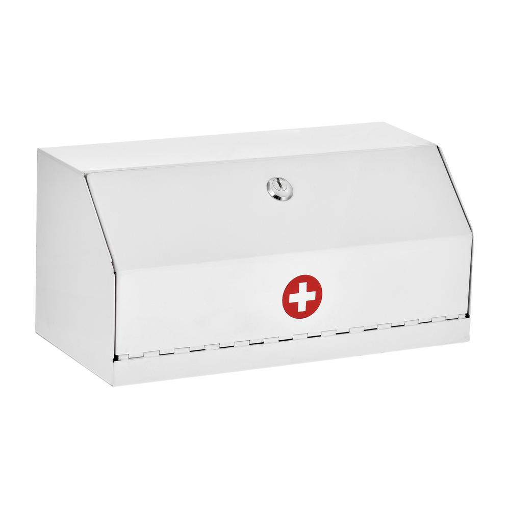 AdirMed 6 in. H x 12.5 in. W x 5.9 in. D Locking Steel Surface-Mount Medicine Cabinet