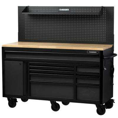61 in. W 24 in. D 10-Drawer 1-Door Mobile Workbench with Solid Wood Top and Flip-Up Pegboard in Textured Black