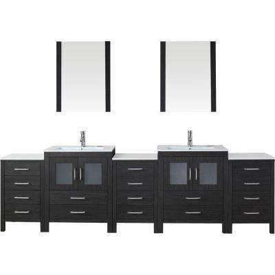 Dior 110 in. W x 18.3 in. D Vanity in Zebra Grey with Ceramic Vanity Top in White with White Basin and Mirror