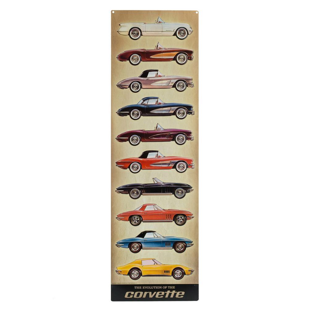 Corvette Vertical Embossed Tin Decorative Sign