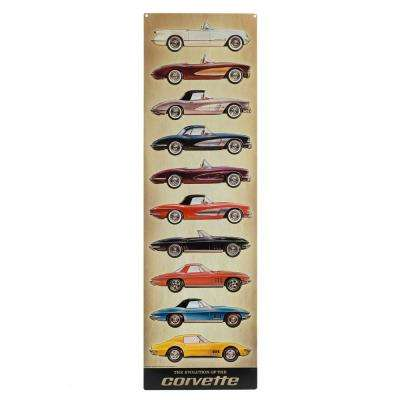 Corvette Vertical Embossed Tin Decorative Sign