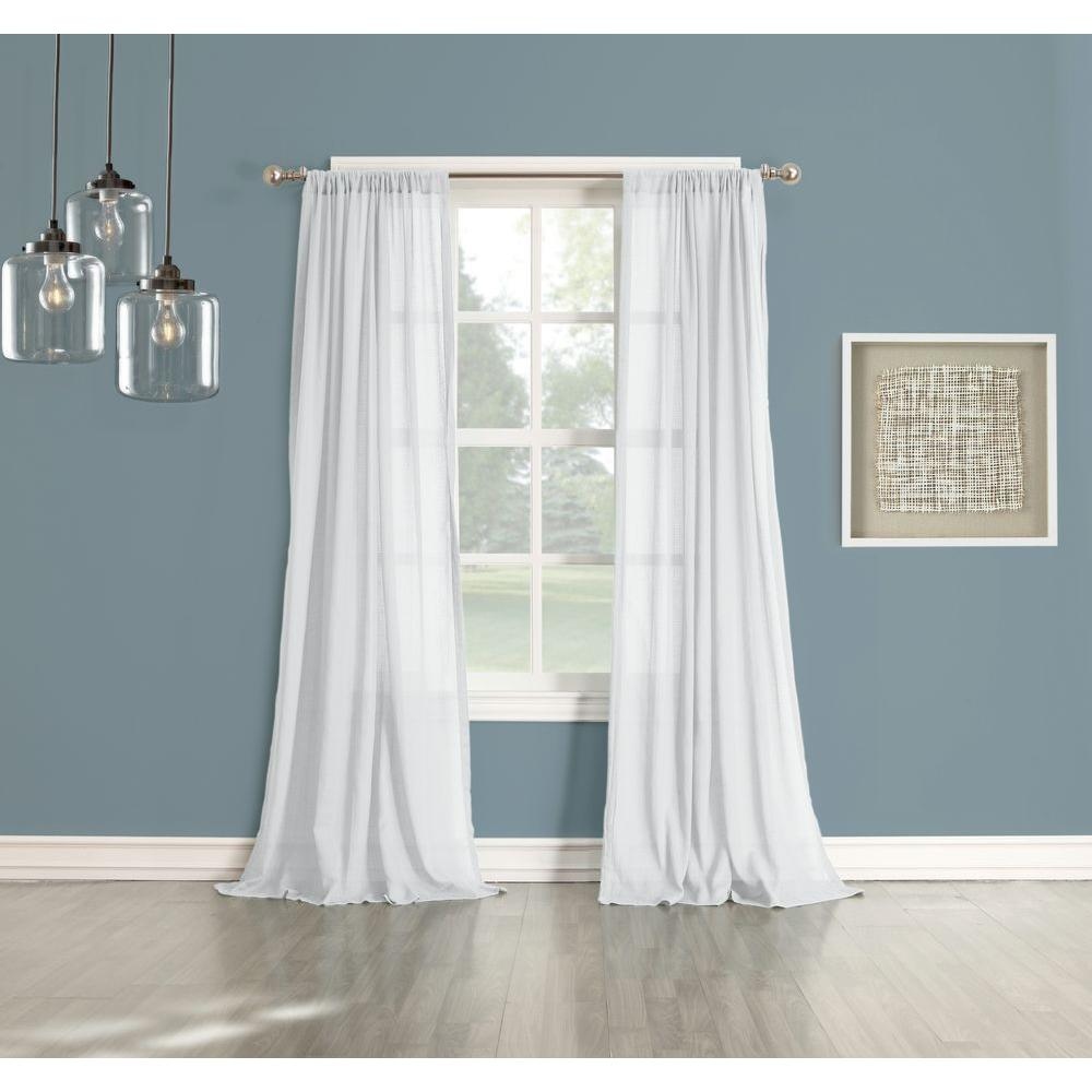 918 Millennial Henderson White Cotton Gauze Curtain Panel 44036