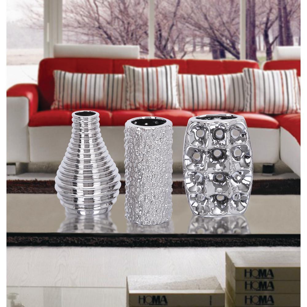 8 in. Decorative Vases in Metallic Silver (Set of 3)