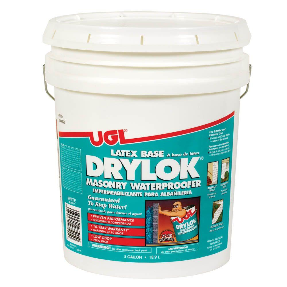 drylok 5 gal white masonry waterproofer 27515 the home depot rh homedepot com waterproof paint for basement concrete walls waterproof paint for basement walls reviews