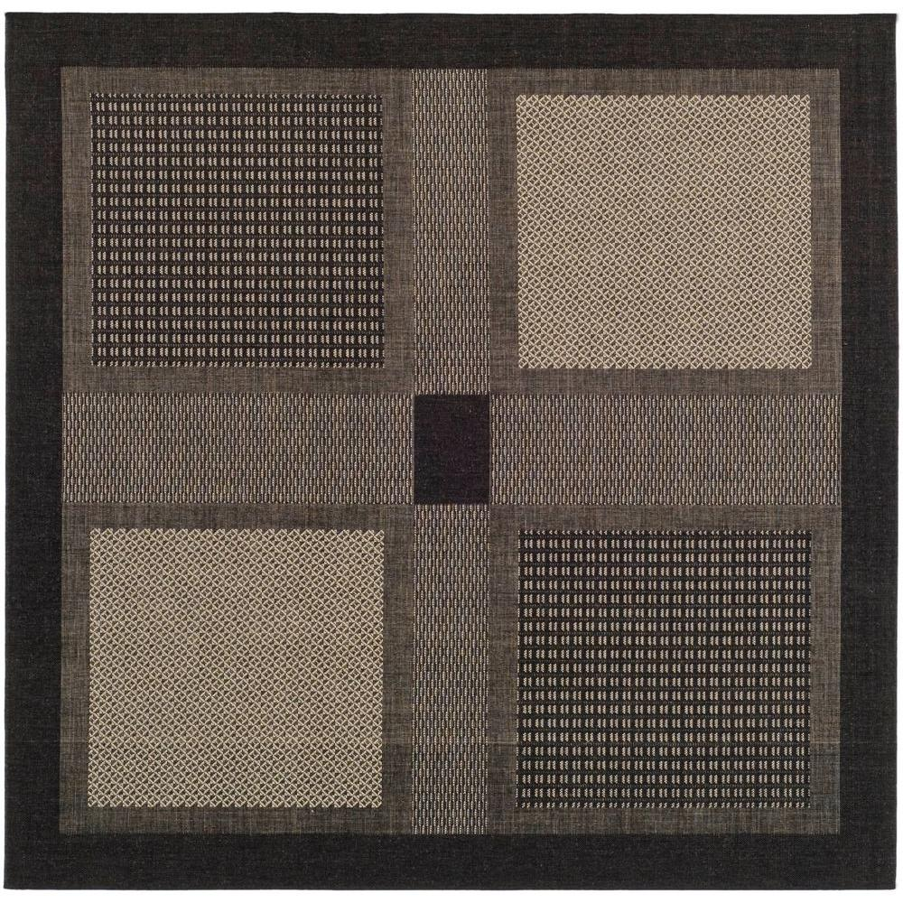 Indoor Outdoor Rugs Square: Safavieh Courtyard Black/Sand 7 Ft. X 7 Ft. Indoor/Outdoor