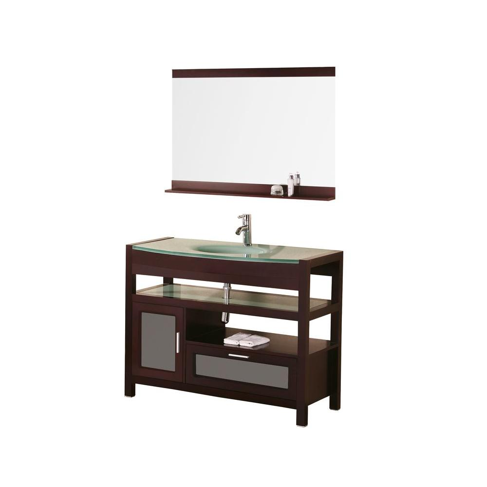 Design Element Milan 43 In W X 22 In D Vanity In Mahogony With Glass Vanity Top And Mirror In