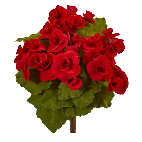 Nearly Natural Indoor 11 Begonia Bush Artificial Flower (Set of 4)