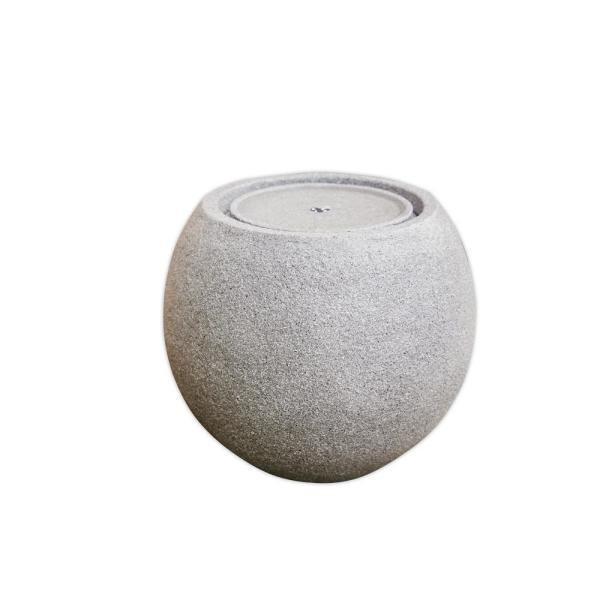 17 in. Tall White Round Tabletop Waterfall Fountain Indoor Outdoor Decor