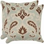 Dylan Grey Floral Down Alternative 18 in. x 18 in. Throw Pillow (Set of 2)