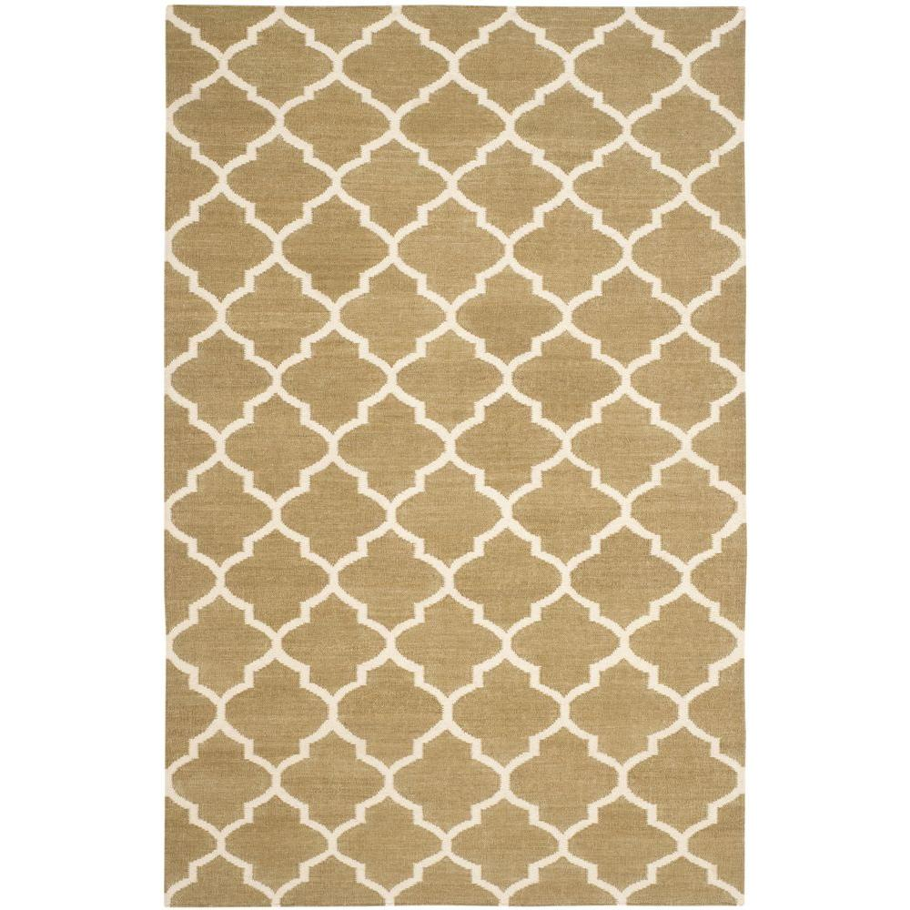 Dhurries Green/Ivory 8 ft. x 10 ft. Area Rug