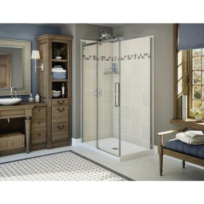 Utile Stone 32 in. x 48 in. x 83.5 in. Corner Shower Stall in Sahara with Center Drain Base in White