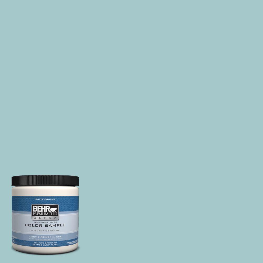 Behr Premium Plus Ultra 8 Oz Ppu13 10 Ocean Boulevard Interior Exterior Satin Enamel Paint