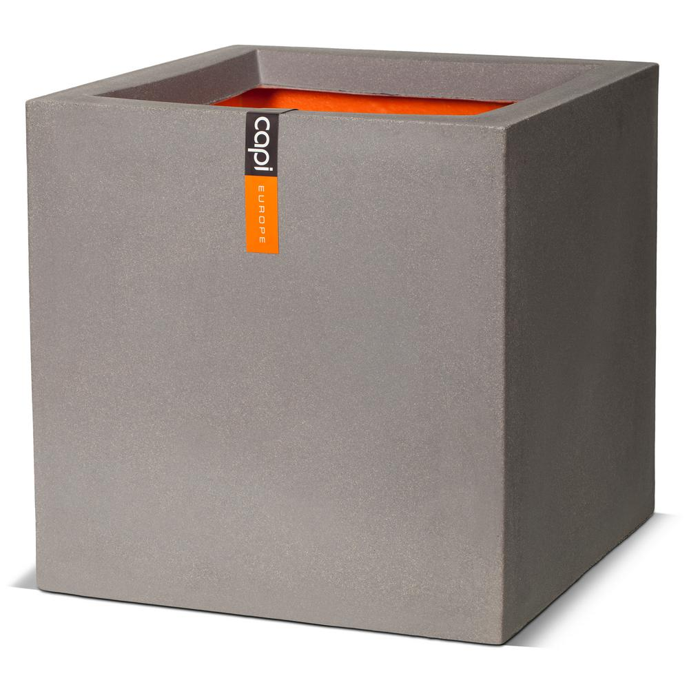 Capi Europe capi square smooth - polyethlyene grey planter-kgr902 - the home depot