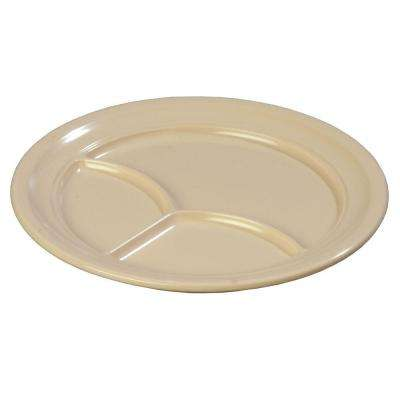 9.67 in. Diameter Melamine 3-Compartment Plate in Tan (Case of 36)
