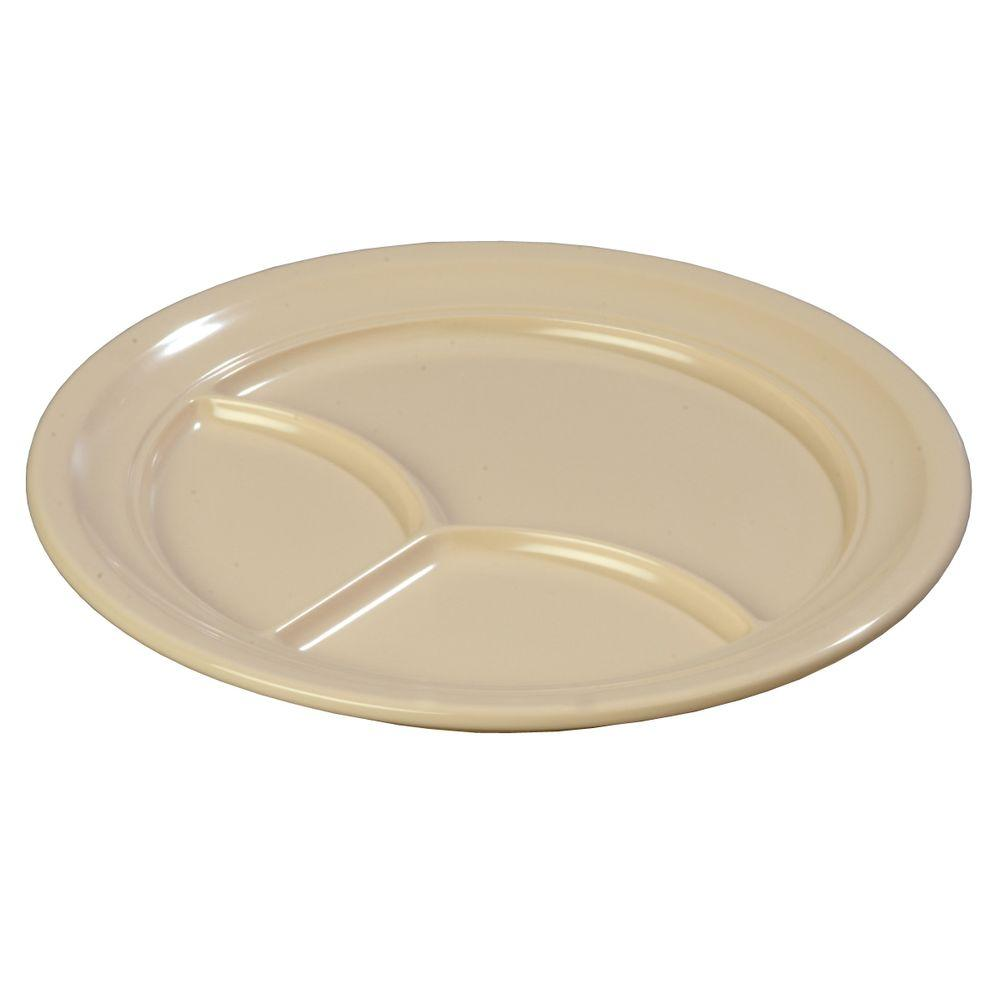 Carlisle 9.67 in. Diameter Melamine 3-Compartment Plate in Tan (Case of 36  sc 1 st  The Home Depot & Carlisle 9.67 in. Diameter Melamine 3-Compartment Plate in Tan (Case ...