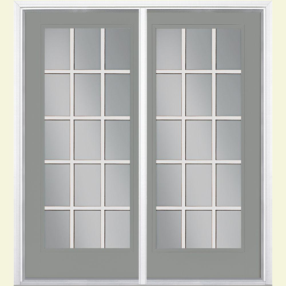 Masonite 72 in. x 80 in. Silver Cloud Prehung Right-Hand Inswing 15 Lite Steel Patio Door with Brickmold
