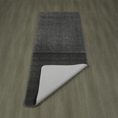 Solid Design Gray 1 ft. 8 in. x 4 ft. 11 in. Non-Slip Bathroom Rug Runner