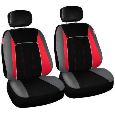 Journeyman Class Poly Flat Cloth 26 in. L x 30.7 in. W x 22.4 in. H Seat Cover Set in Black and Red