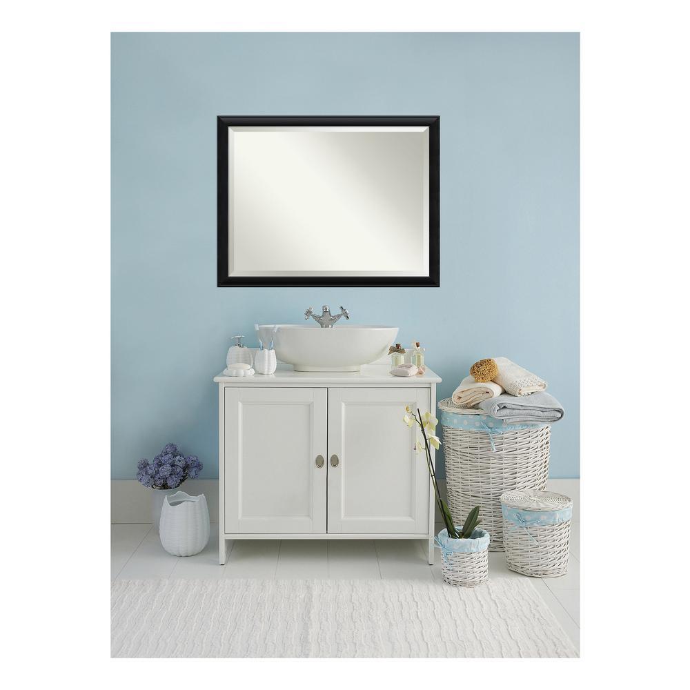 Nero Black Wood 44 in. W x 34 in. H Single Contemporary Bathroom Vanity Mirror