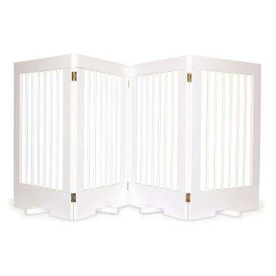 4-Panel Freestanding Pet Gate in White