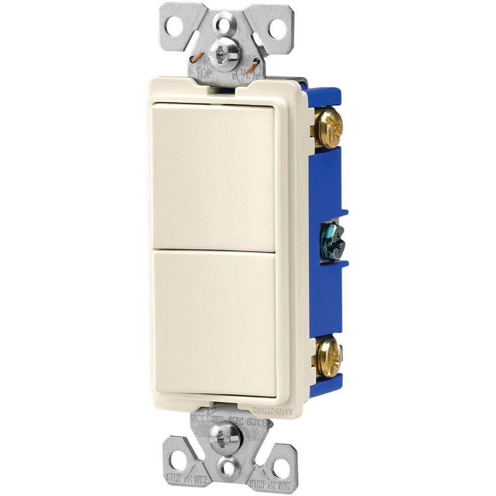 Eaton 15 Amp Two Single Pole Combination Decorator Light Switch ...