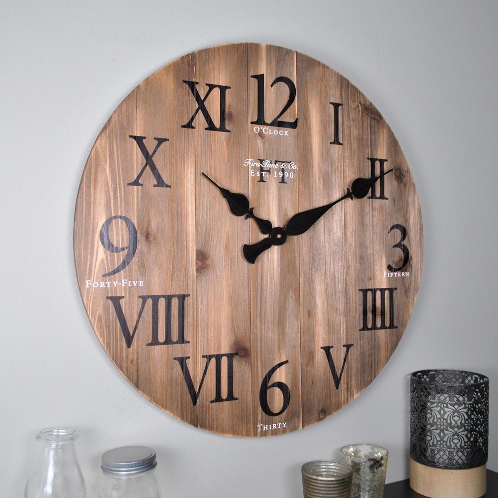 24 in. Rustic Weathered Barnwood Wall Clock