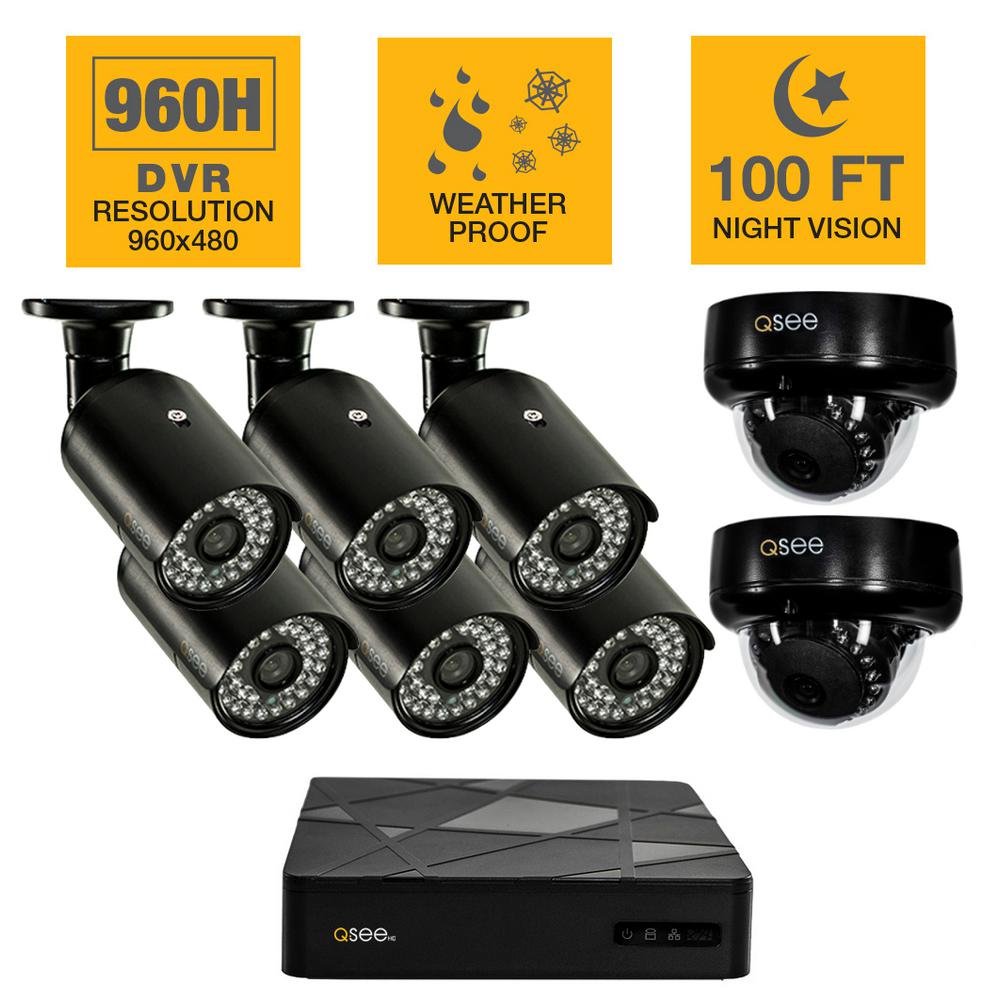 Q-SEE 8-Channel 960H 1TB Surveillance System with (6) 900TVL Bullet and (2) 900TVL Dome Cameras and 100 ft. Night Vision