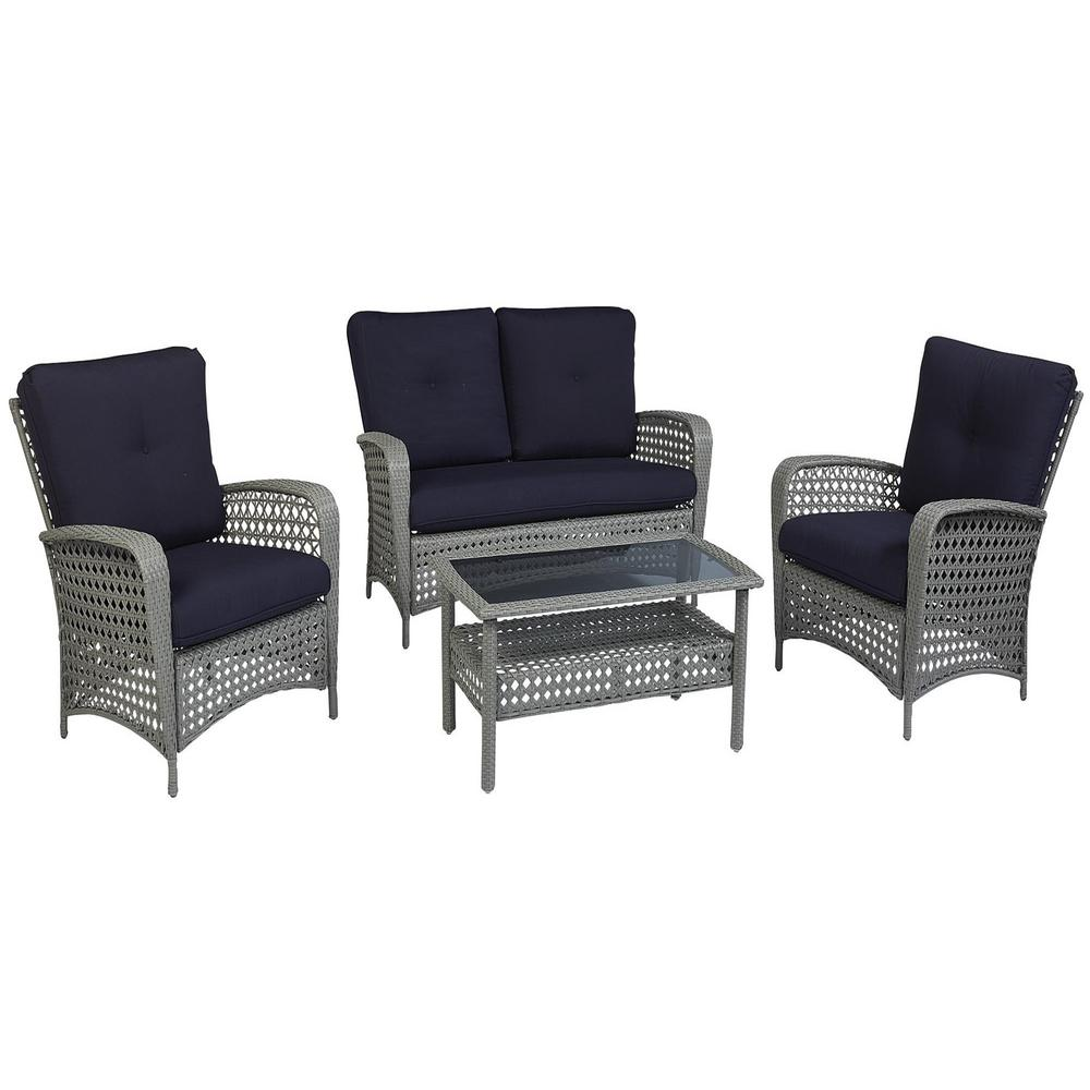 Lakewood Ranch 2 Piece Steel Woven Wicker Patio Conversation Set With Navy Cushions