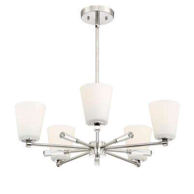 Abree 5-Light Polished Nickel Chandelier with Etched Opal Glass Shade