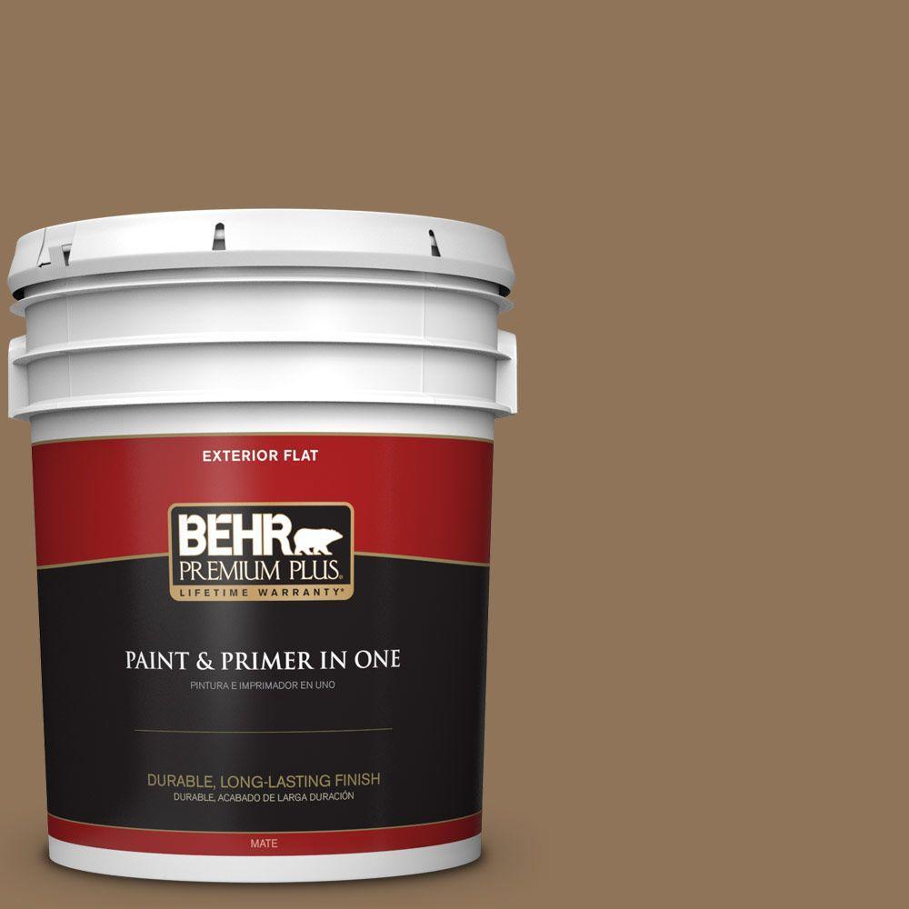 BEHR Premium Plus 5-gal. #N270-7 Library Oak Flat Exterior Paint
