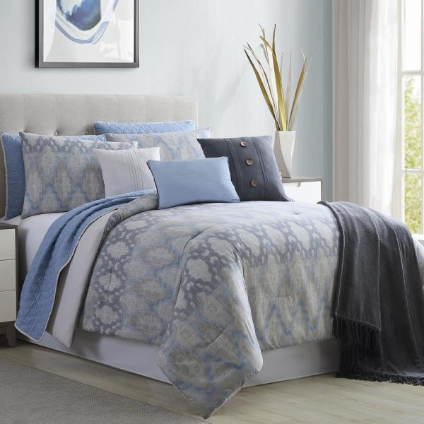 10-Piece Blue and Gray solid Microfiber King Size Comforter and Coverlet Set