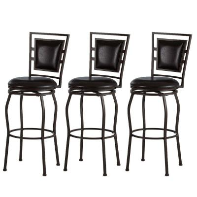 Townsend Adjustable Height Dark Brown Cushioned Bar Stool (Set of 3)
