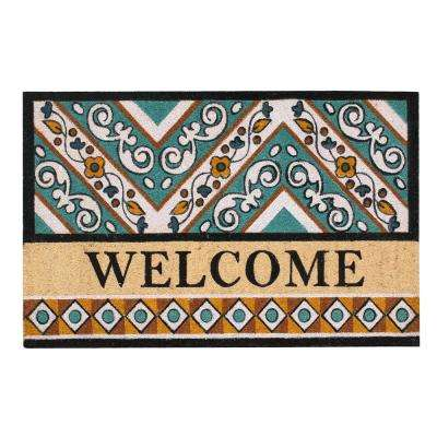 A1HC First Impression Anti Shred Treated Waydon Welcome 30 in. x 48 in. Fade Resistant Coir Door Mat