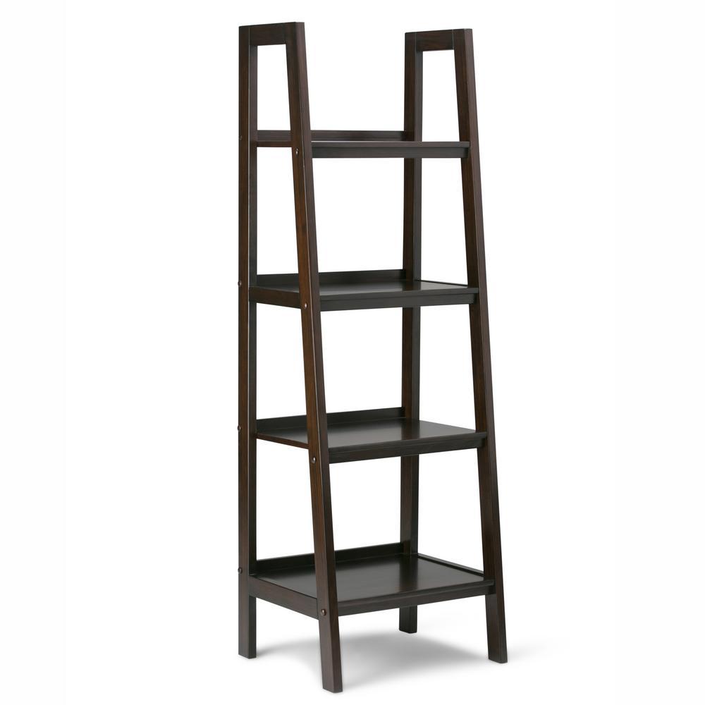 Sawhorse Solid Wood 72 in. x 24 in. Modern Industrial Ladder Shelf in Dark Chestnut Brown