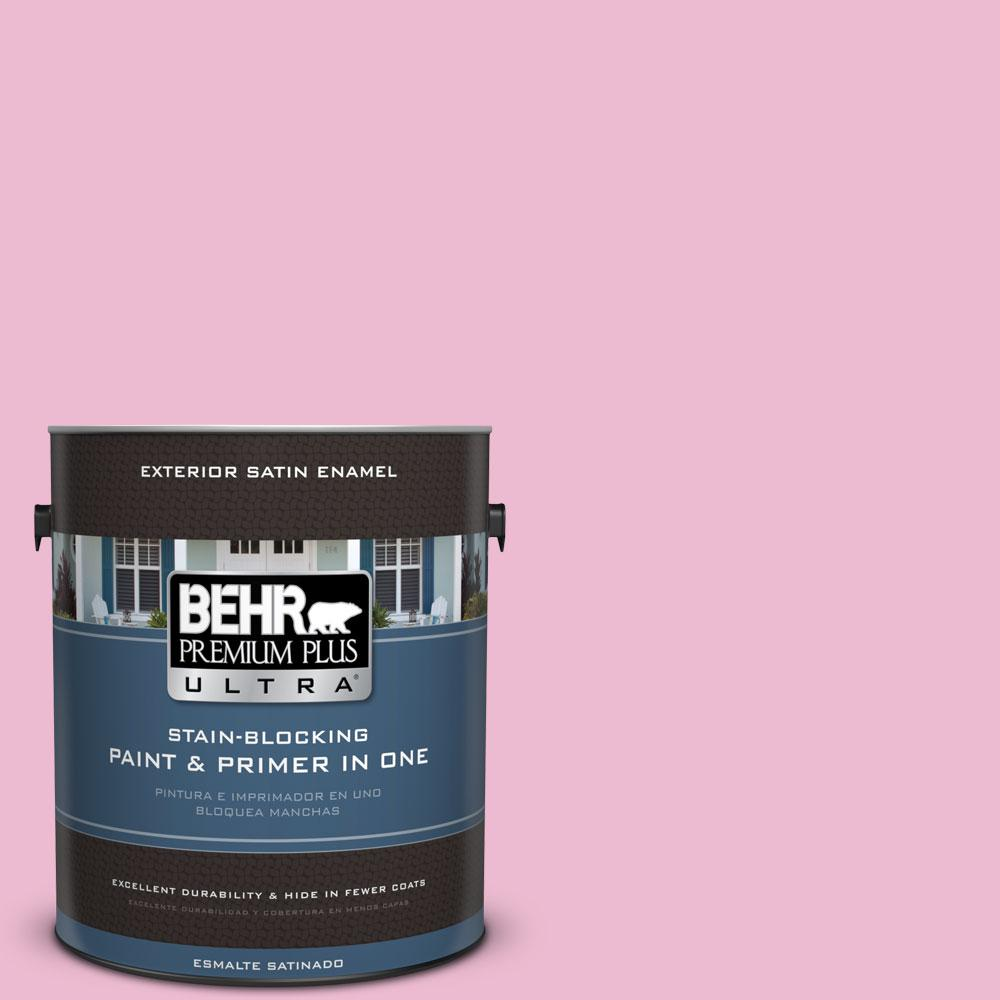 BEHR Premium Plus Ultra 1-gal. #P130-2 Pink Innocence Satin Enamel ...