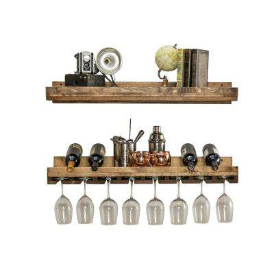 Rustic Luxe 6 in. x 36 in. x 10 in. 2-Tier Wood Shelf and Glass Rack Set
