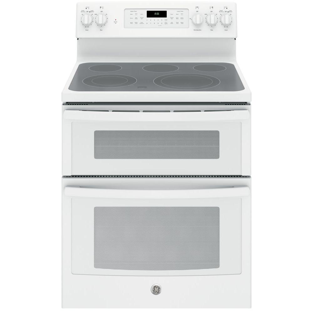 Ge 6 Cu Ft Double Oven Electric Range With Self Cleaning And Convection Lower In White
