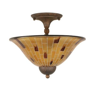 Concord 2-Light Bronze Ceiling Semi-Flush Mount Light