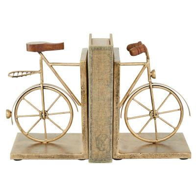 6.5 in. x 9 in. Gold Metal Bicycle Bookends (Set of 2)