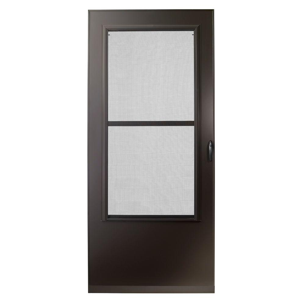 home depot front screen doors. EMCO 36 in  x 80 200 Series Bronze Universal Triple Track Aluminum Storm Door E2TT 36BZ The Home Depot