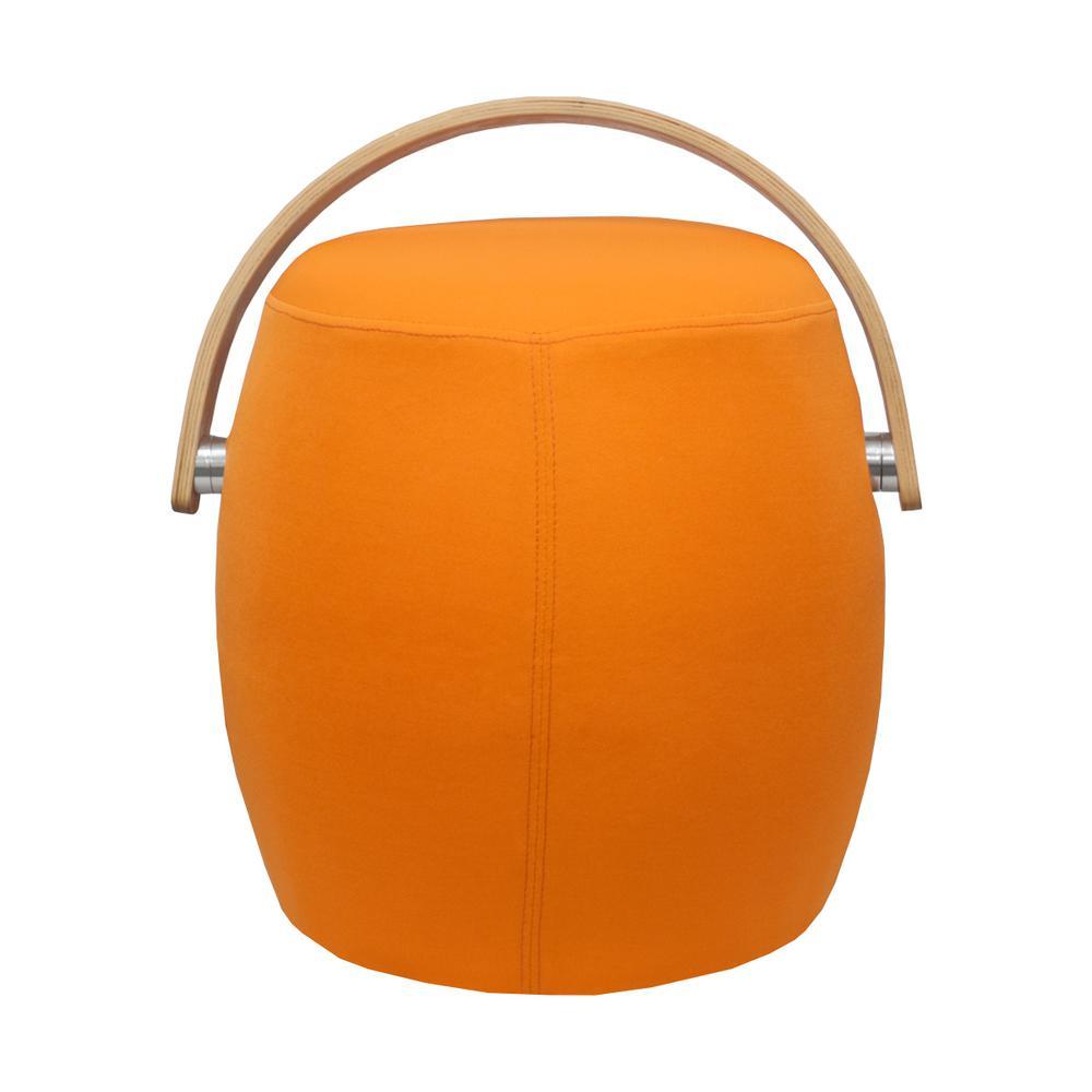 Bucket Orange Fabric Ottoman Stool